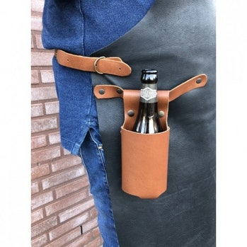 A brown leather bottle holster.