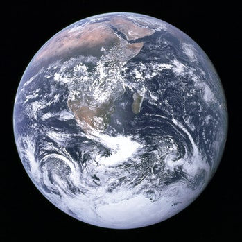 """""""The Blue Marble"""" is a famous photograph of the Earth taken on December 7, 1972, by the crew of the ..."""