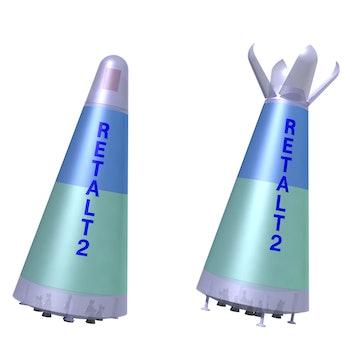 RETALT 2, showing launch and descent.