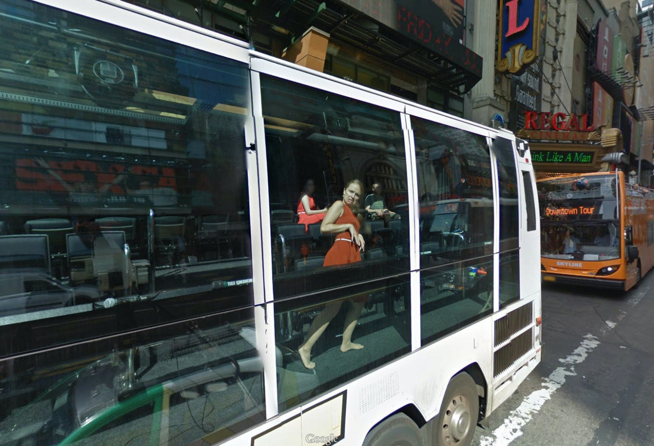 Google bus woman capture strange position Street View reflection New York City