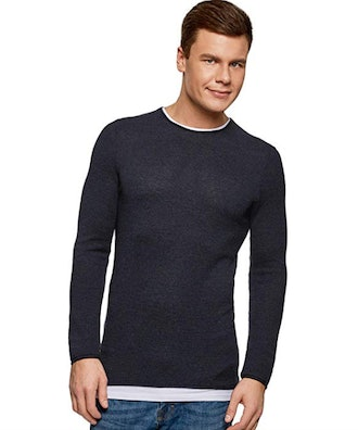 oodji Ultra Men's Round Neck Pullover with Contrast Details