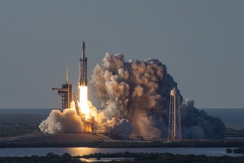 SpaceX's Falcon Heavy rocket lifts off in April 2019, this timecarrying the Arabsat-6A communications satellite.