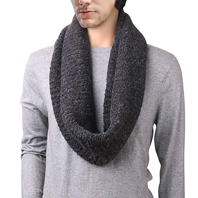 DELUXSEY Mens Long Chunky Infinity Scarf