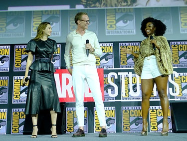 Elizabeth Olsen, Paul Bettany, and Teyonah Parris, who will play Monica Rambeau, in the 'WandaVision' series on Disney+, set to debut in the spring of 2021, at San Diego Comic-Con in July 2019.