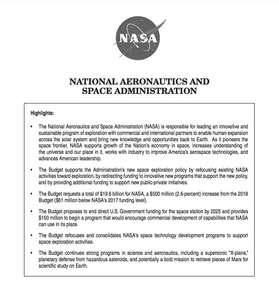 The Trump administration's summary of its NASA budget proposal.