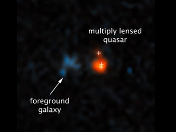 Fan and his collaborators observed the quasar namedJ043947.08+163415.7 because a galaxy in the foreground bent and magnified the light from the distant object. This image, taken by theHubble Space Telescope,shows how the gravitational lensing effect made the quasar appear split into three.