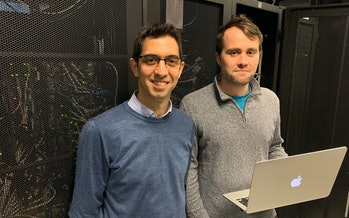 (L) Professor Max Garcia-Melchor and (R) Ph.D. Candidate, Michael Craig hope that their approach can help optimize renewable energy creation and storage.