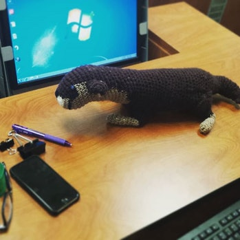 I made my professor an otter because of a semester-long running joke wherein I would put otters on every single one of my assignments. Here it it is in its natural habitat. (For more of my #crochet and #knitting posts check out @eventuallyahat.) #otterlya