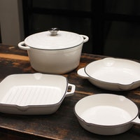 Inspired Home 5-Piece Enameled Cast Iron Cookware Set
