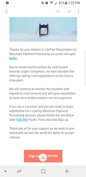 Litepay notification to email list subscribers.