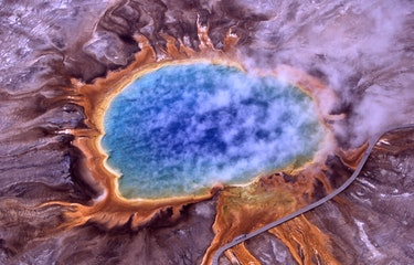 Aerial view of Grand Prismatic Spring; Hot Springs, Midway & Lower Geyser Basin, Yellowstone Nationa...