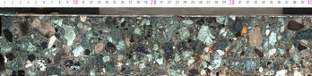 Part of a core section from the Chicxulub impact crater. It is suevite, a type of rock, formed durin...