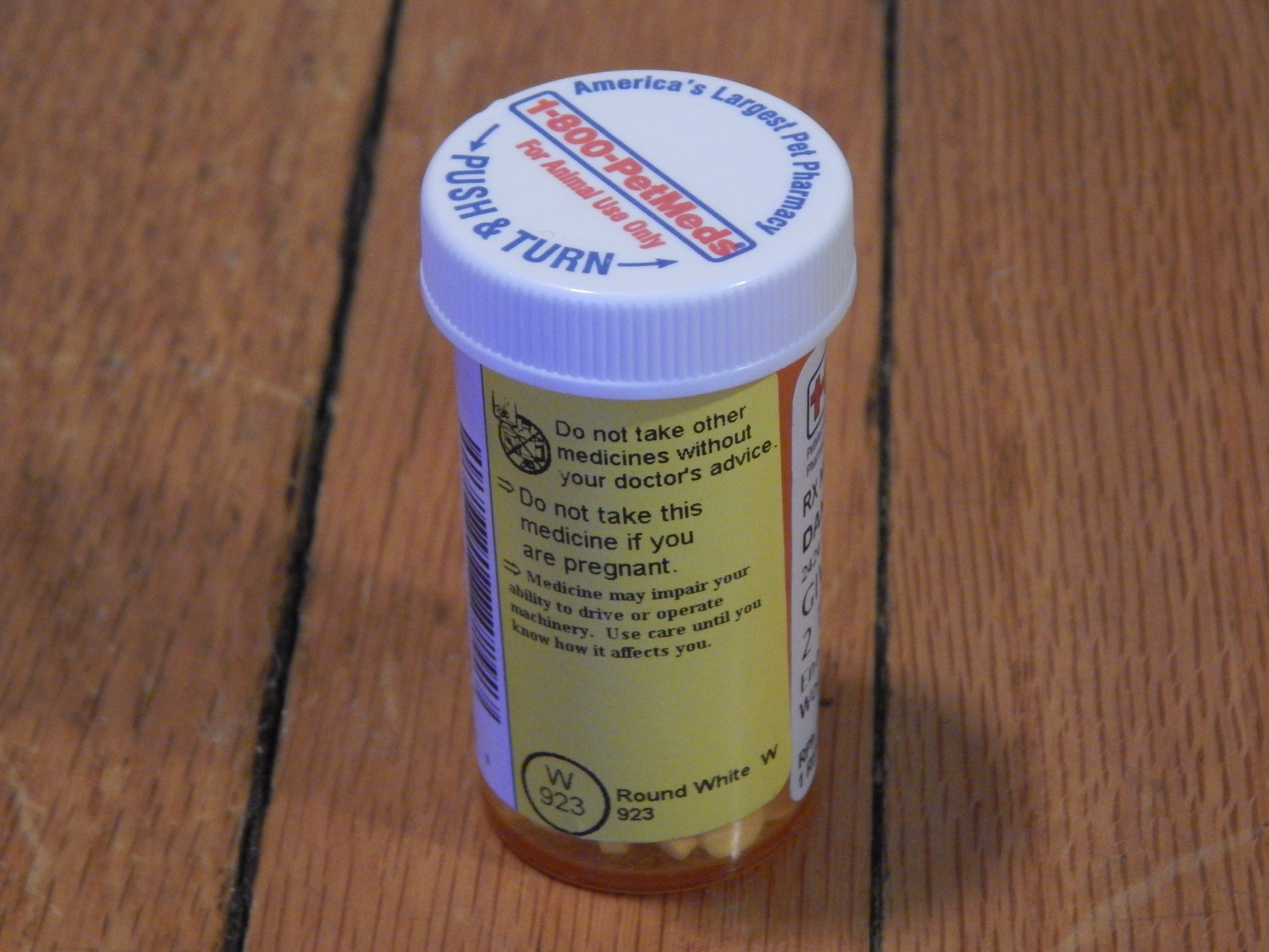 Enalapril Dog medication pill meds warning labels drive