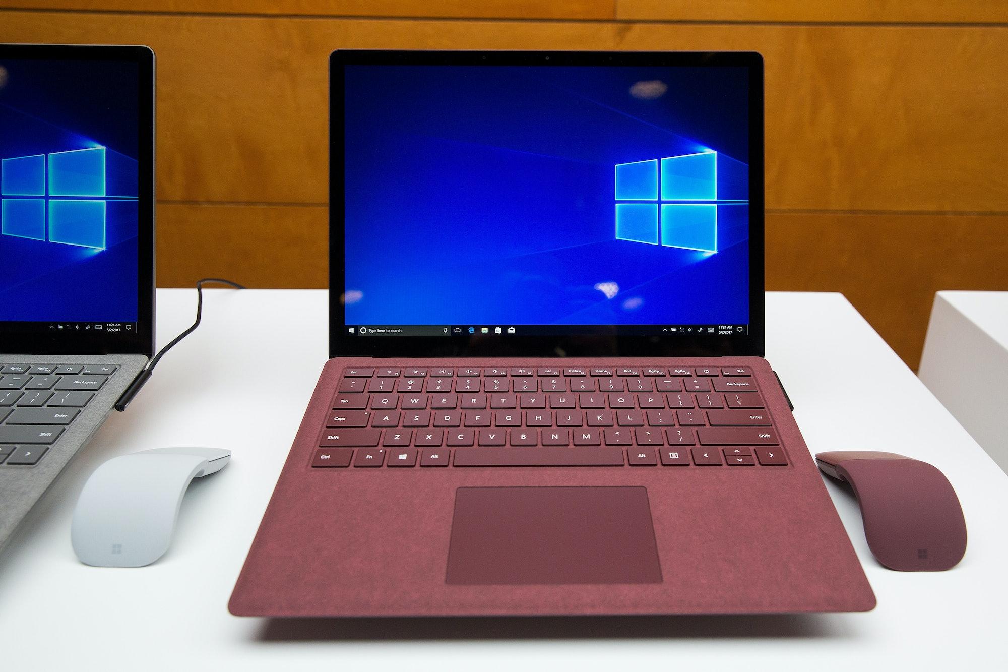 A Microsoft Surface Laptop running Windows 10 with Cortana.