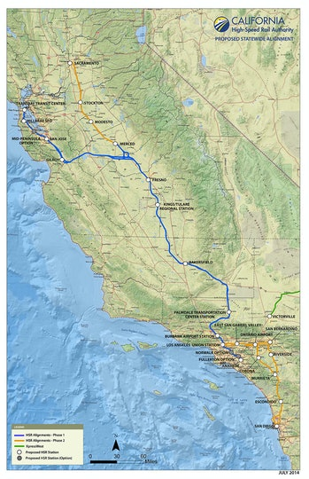 Here;s the proposed path of the California High-Speed Rail.