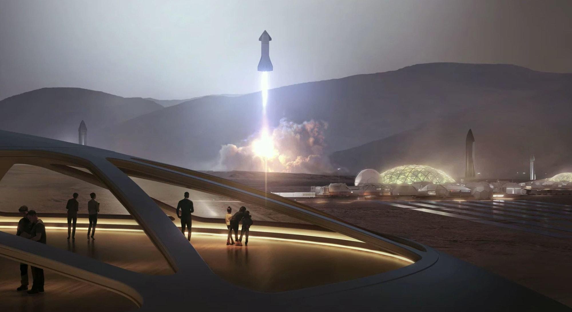 The Starship landing on Mars.