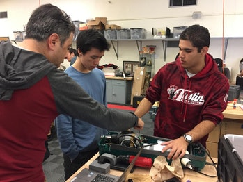Tustin High School students working on a project.