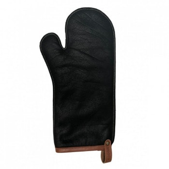 A black leather cooking glove.