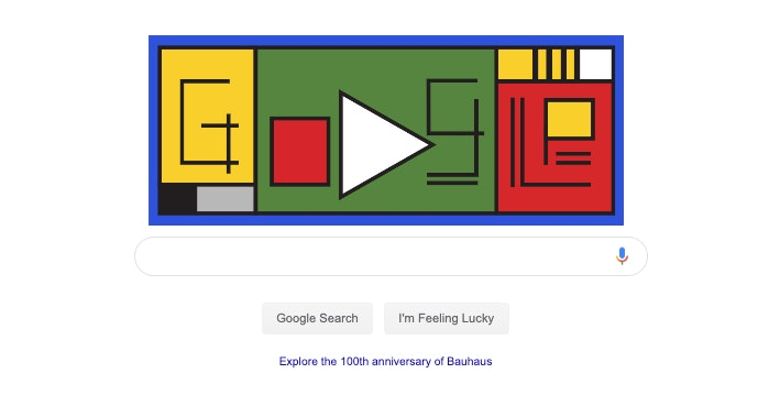 google doodle 100th anniversary of bauhaus