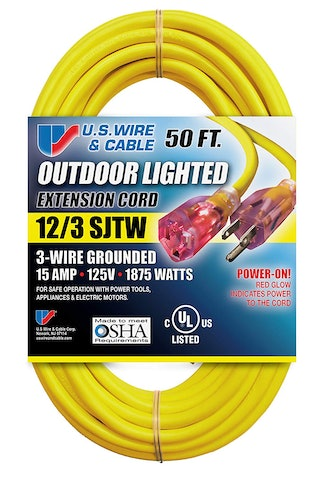 US Wire and Cable Yellow Extension Cord