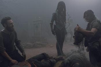 the walking dead midseason finale evolution jesus dead tom payne aaron ross marquand michonne danai gurira norman reedus daryl