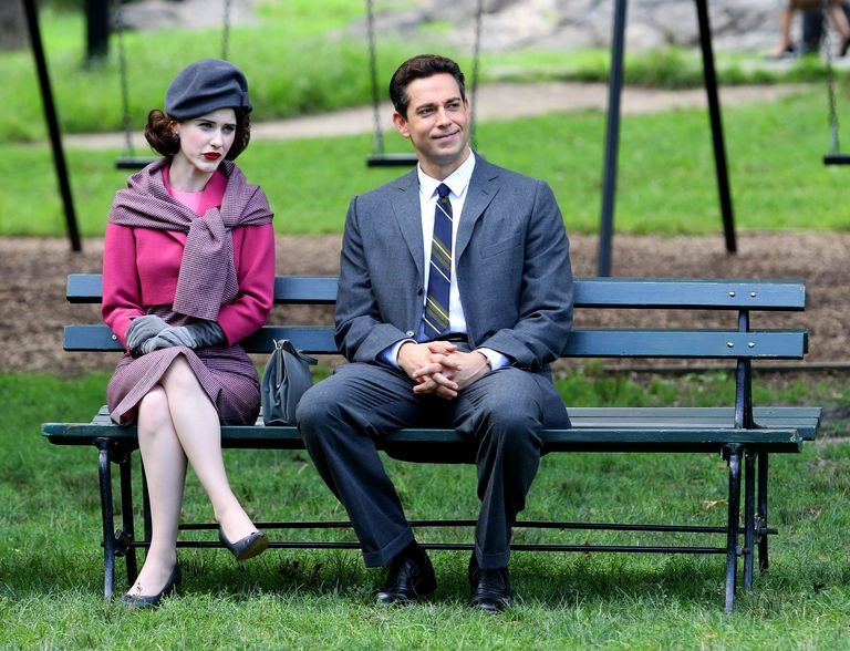 """Rachel Brosnahan as Miriam """"Midge"""" Maisel and Zachary Levi as a new character in Season 2 of 'The Marvelous Mrs. Maisel'."""