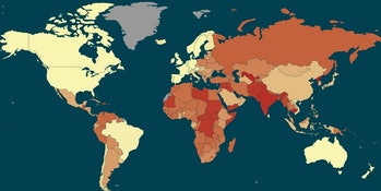 The highest concentration of slavery is in Africa and Southern Asia.