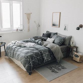 HIGHBUY Premium Cotton Full Bedding Sets Grey Comforter
