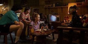 Millie Bobby Brown, Sadie Sink, Finn Wolfhard, Noah Schnapp, and Caleb McLaughlin in Netflix's Stranger Things