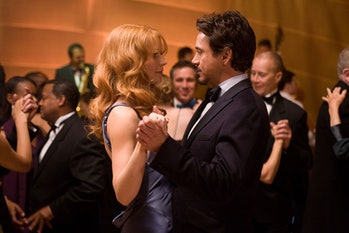 Pepper Potts (Gwyneth Paltrow) and Tony Stark (Robert Downey Jr.)