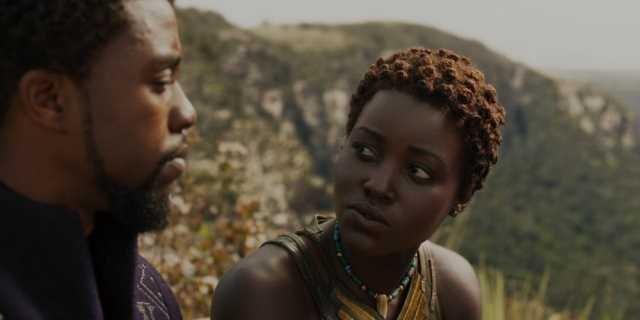 T'Challa (Chadwick Boseman) and Lupita Nyong'o (Nakia).