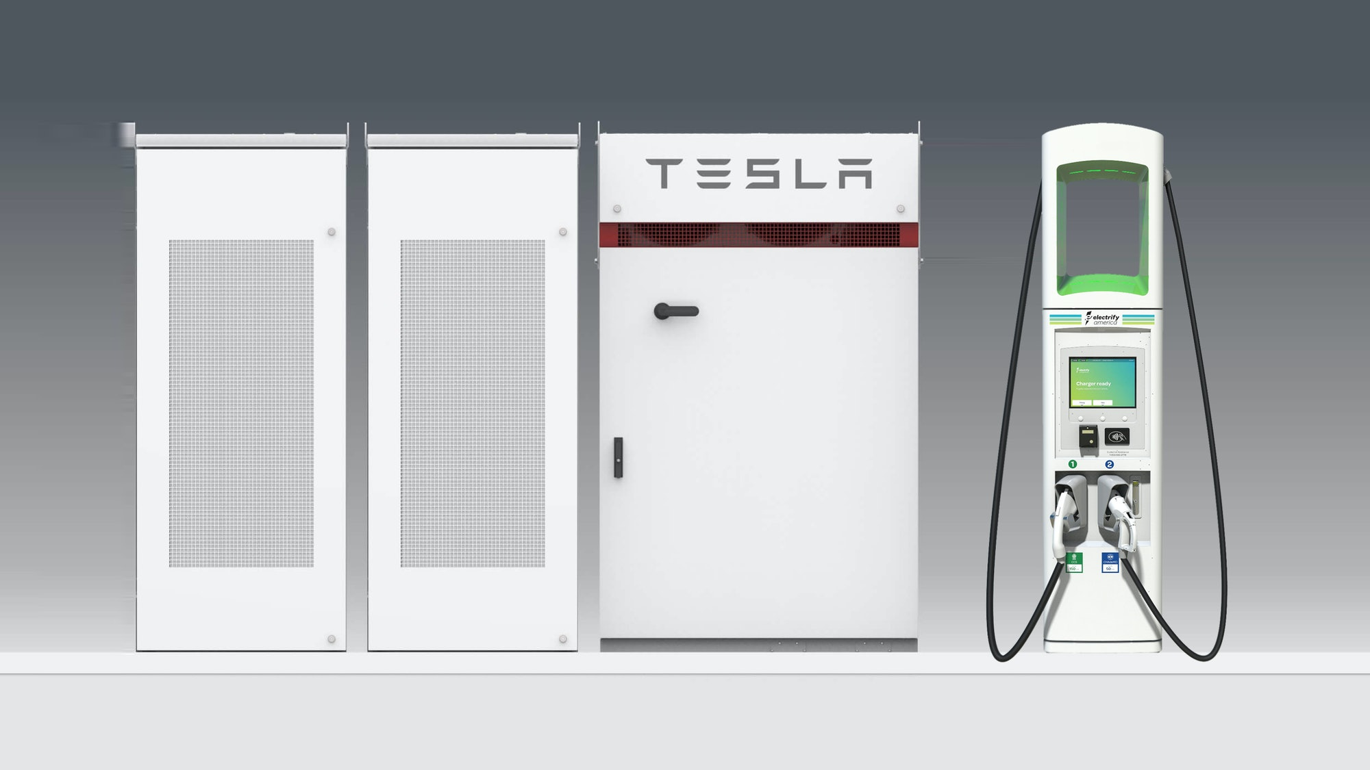 The Powerpack next to an Electrify America charge point.