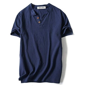 LOCALMODE Men's Linen and Cotton V Neck
