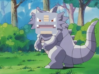 Rhydon from the anime with a 'Pokémon Quest' face.