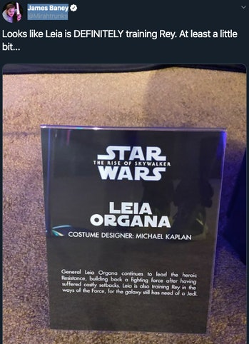 From a costume display at Galaxy's Edge: Leia is a Jedi Master?