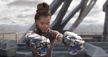 Princess Shuri of Wakanda wields her Vibranium-based gauntlets in 'Black Panther'.