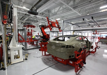 A Model S in production.