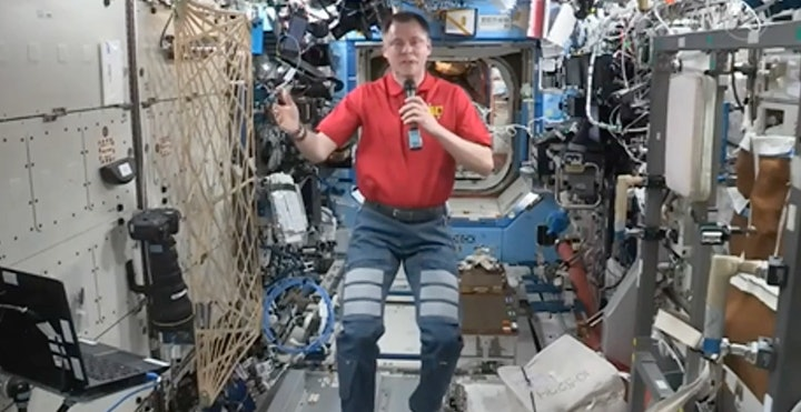 NASA astronaut Nick Hague aboard the ISS on Monday.