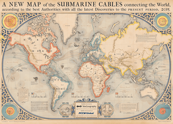 2015 map of 278 in-service and 21 planned undersea cables.