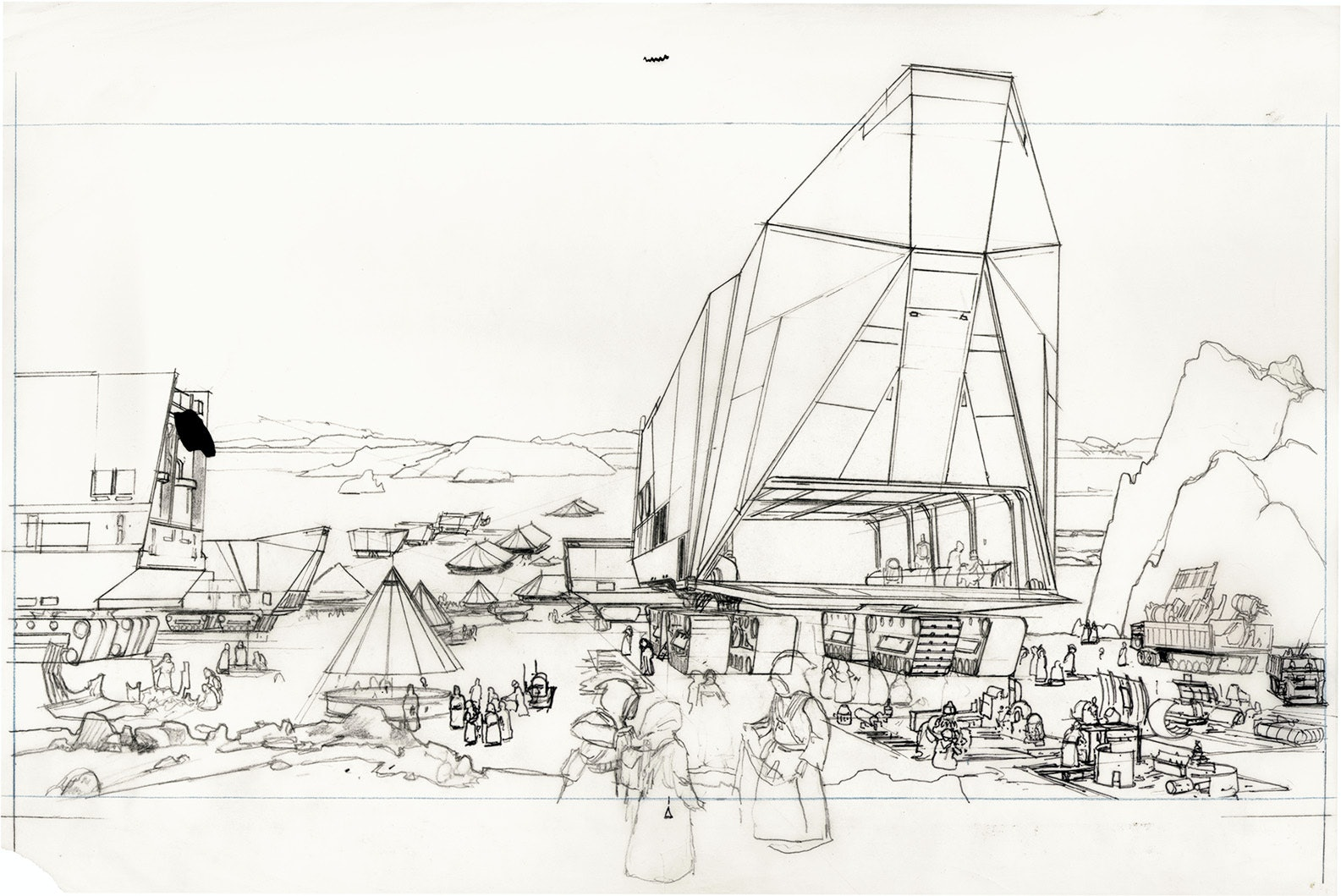 """McQuarrie's rough drawing for an illustration called""""Tatooine — Jawa Swap Meet""""."""
