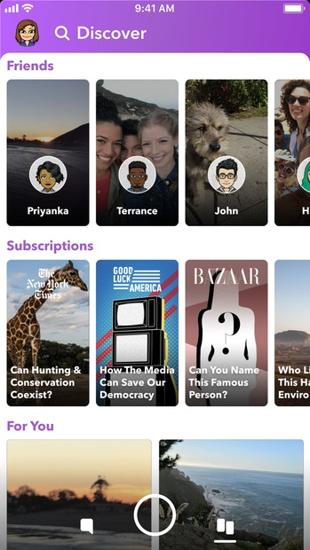 The new Discover tab in Snapchat that is rolling out.