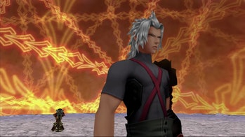 Terra fights Terra-Xehanort inside his own psyche at the end of 'Birth By Sleep'.