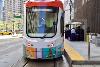 Detroit Q Line streetcar test car commuters