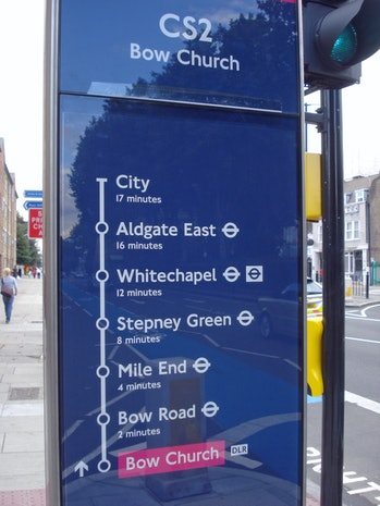 This Cycle Superhighway post even includes symbols that show which points have a tube station.