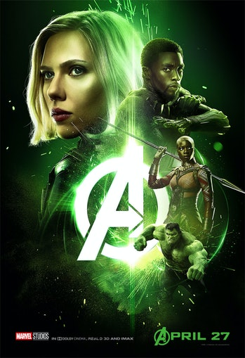 Green 'Infinity War' poster has Black Widow, Black Panther, Okoye, and Hulk.