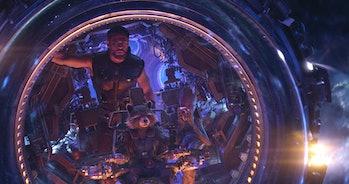 Chris Hemsworth as Thor and Bradley Cooper as Rocket Racoon in 'Avengers: Infinity War'