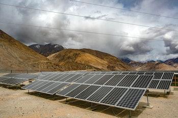 LADAKH, INDIA - JUNE 14: Solar panels are seen inYaratvillage on June 14,2017in Ladakh, India. T...