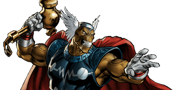 Beta Ray Bill looks a lot like Thor, but with a very different hammer.