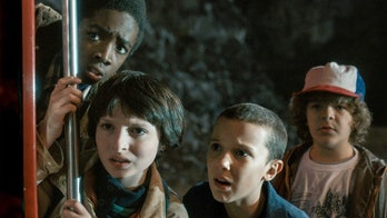 From L-R: Lucas, Mike, Eleven, and Dustin on 'Stranger Things'.