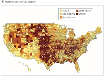 Trump votes by county